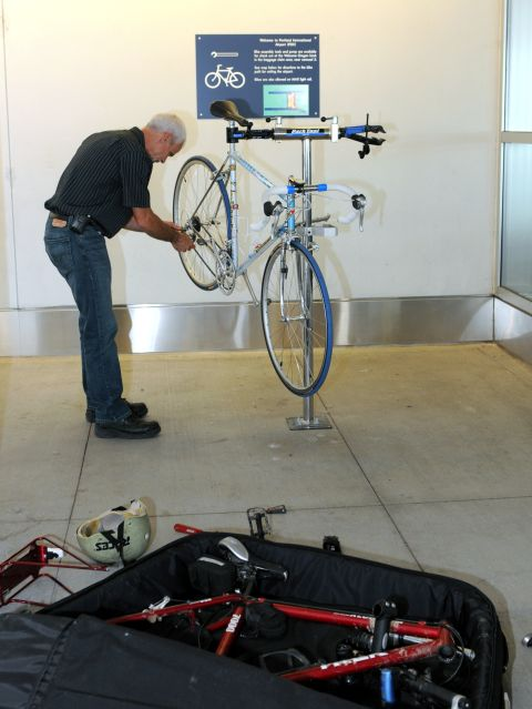 Bike assembly area. Portland International Airport