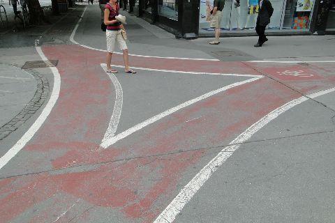 Lublana. Skrzyżowanie dróg rowerowych