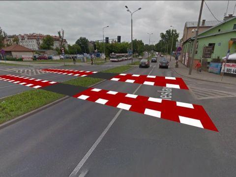 Radom. Przejazd rowerowy w poprzek ul. Limanowskiego