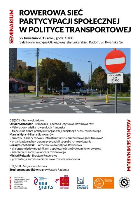 """Radom. Seminarium """"Rowerowa sieć partycypacji społecznej w polityce transportowej"""""""