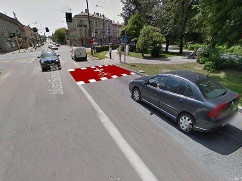 Radom. Śluza rowerowa ul. Słowackiego, Zdjęcie: Google Strett View