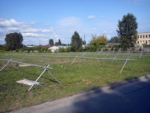 Radom. Tymczasowy parking rowerowy zorganizowany z okazji Air Show