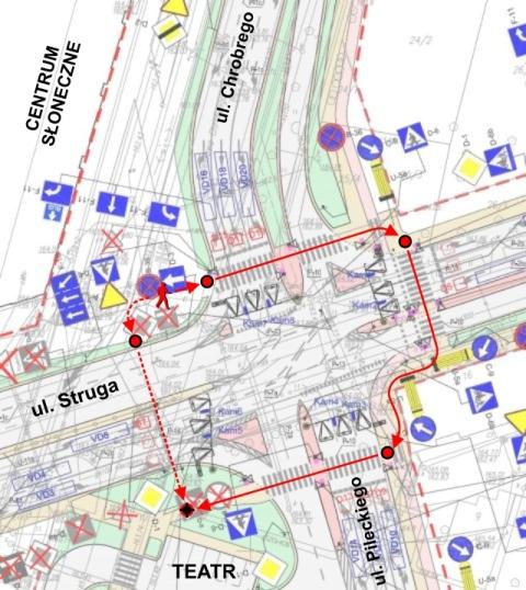 Radom. Przejścia dla pieszych przy Centrum Słonecznym
