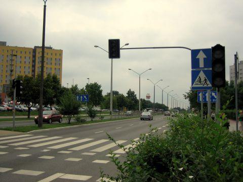 Radom. Al. Grzecznarowskiego, przejście dla pieszych i przejazd dla rowerzystów