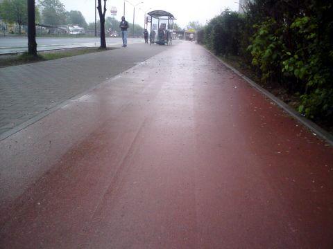 Radom. Al. Grzecznarowskiego, Kałuże na nowej drodze rowerowej