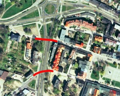 Radom. Propozycja lokalizacji kładek w ciągu Szpitalna  – Okulickiego oraz Żytnia – Staromiejska