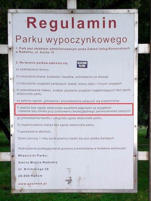 Radom. Regulamin parków wypoczynkowych