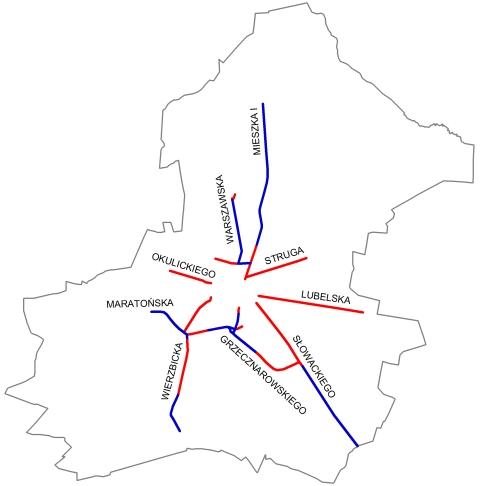 Mapa 2. Rowerowe trasy główne
