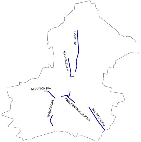 Radom. Rowerowe trasy główne - stan obecny