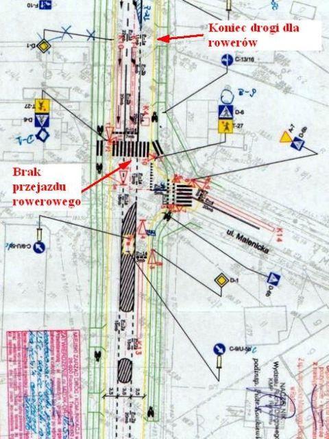 Radom. Brakujący przejazd rowerowy na skrzyżowaniu ulic Słowackiego/Malenicka