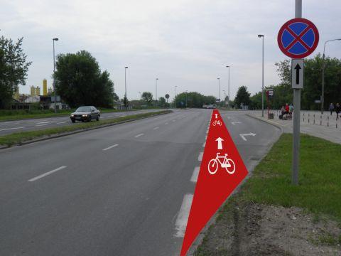 Radom. Ulica Szarych Szeregów wjazd na ciąg pieszo-rowerowy