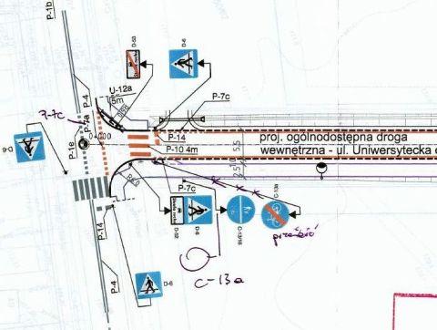 Radom. Ulica Uniwersytecka, fatalny projekt infrastruktury rowerowej
