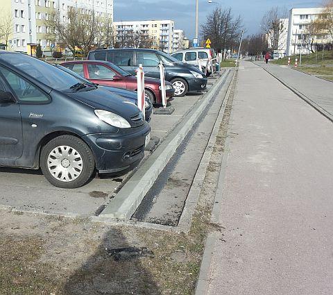 Radom, ul. Wierzbicka - ograniczniki parkowania przy drodze dla rowerów